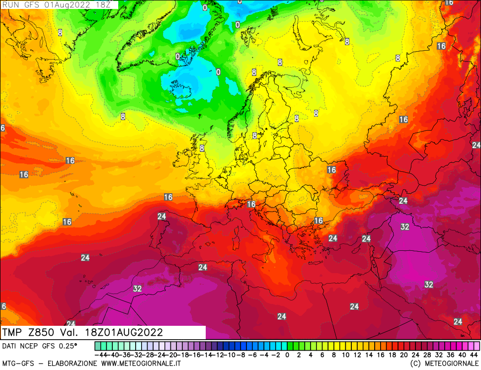meteogiornale: gfs-t850 - Valid + 0 h (start:3 end:240 step:3)