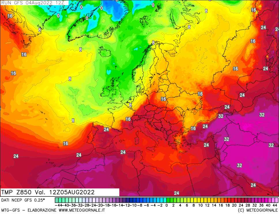 meteogiornale: gfs-t850 - Valid + 24 h (start:3 end:240 step:3)