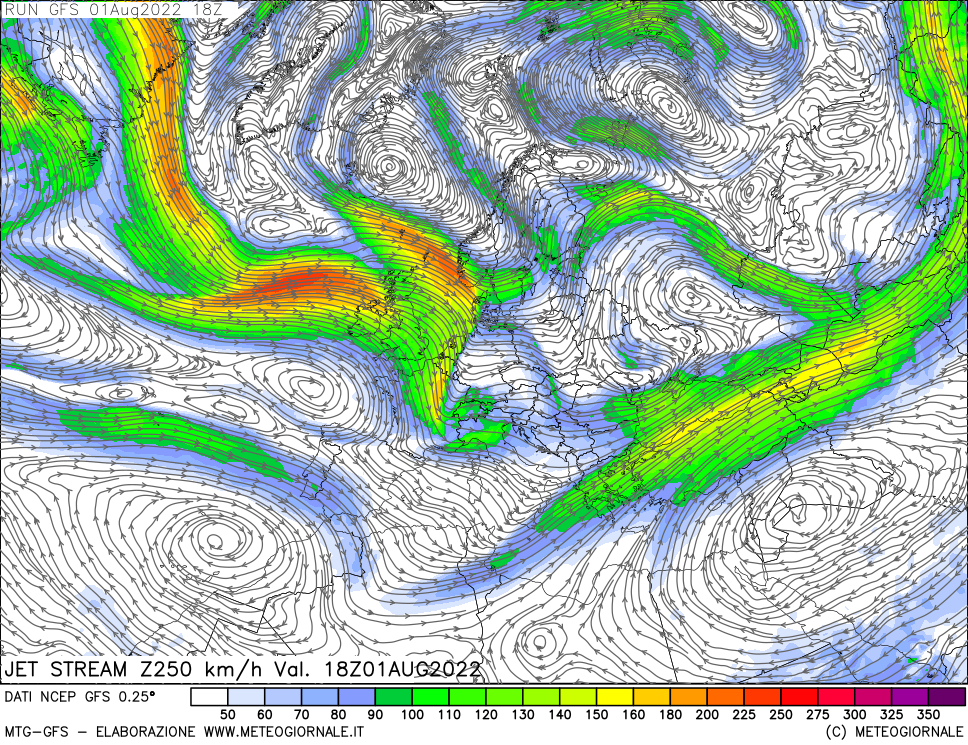 meteogiornale: gfs-w250 - Valid + 0 h (start:3 end:240 step:3)