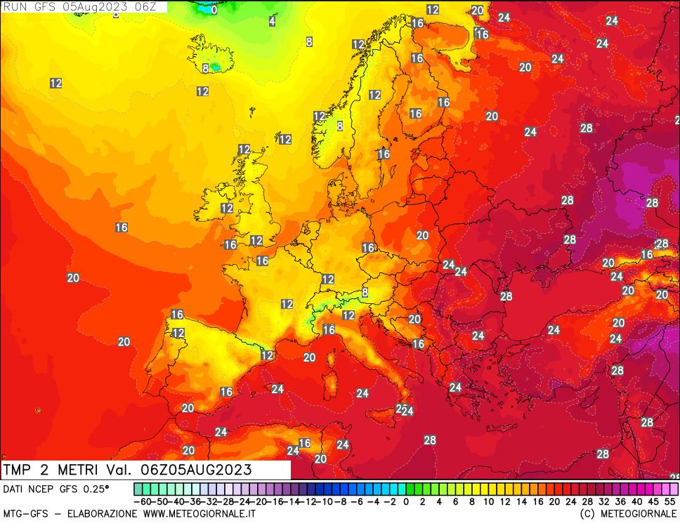Температура воздуха на высоте 2 м, модель GFS