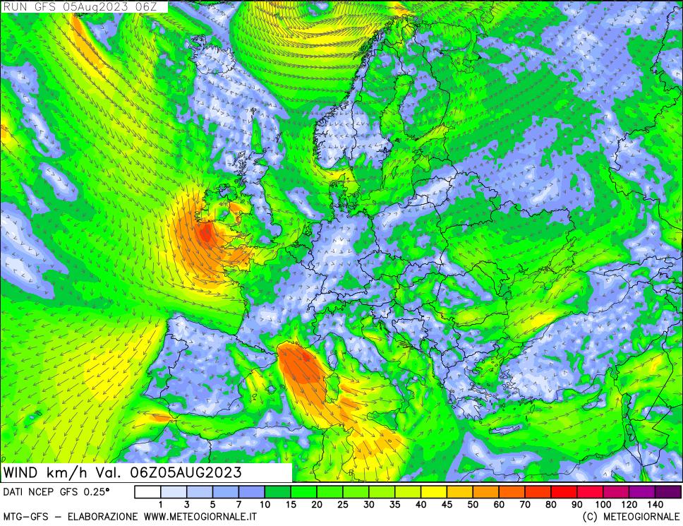 Скорость ветра на высоте 10 м, модель GFS
